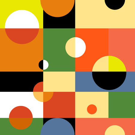 parallelogram: Abstract geometric vector seamless background. Illustration for web design, prints etc. Rectangles and circles modern pattern. Illustration