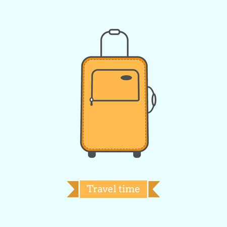 suit case: Flat line icon of  tourist luggage, suit case. Infographic icon, abstract design pictogram. Vector illustration in bright colors. Travel time theme.