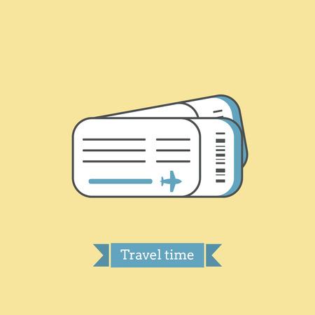 billets d avion: Flat Line ic�ne de billets d'avion. Ic�ne infographie, conception abstraite pictogramme. Vector illustration de couleurs vives. Voyage th�me du temps.