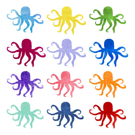 good nature: Set of varicolored watercolor hand drawn octopus. Nature ornament. Original background good for cards, posters, web design, textile print, banners etc. Sea. Ocean.