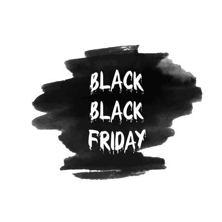 sell out: Black friday sale. Vector illustration. Clearance. Simple ad on watercolor background. Can be used for placard, poster, flyer etc. Illustration