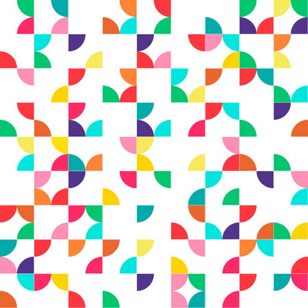 Abstract geometric seamless pattern with multicolored parts of circles. vector version illustration  Illustration