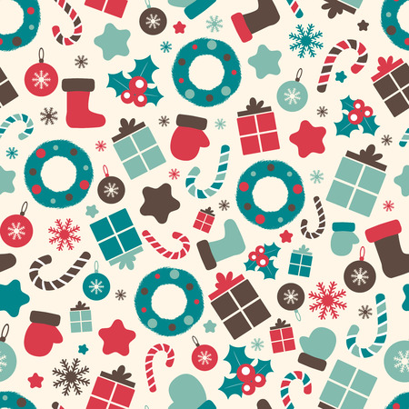 Retro style Christmas patterns. Winter background. Endless texture in pastel colors. Vector colorful illustration can be used for print on paper and fabric. Holiday. New Year theme. Wreath, holly and other traditional symbols. Illustration