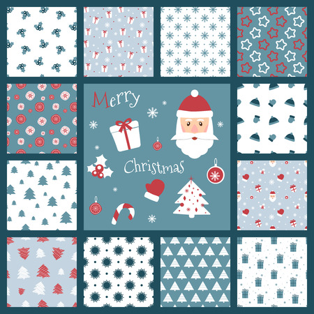 Set of retro style Christmas patterns. Winter background. Endless textures in blue and red colors can be used for print on paper and fabric. Holiday. New Year theme. Vector illustration. Santa Claus and other traditional symbols. Illusztráció