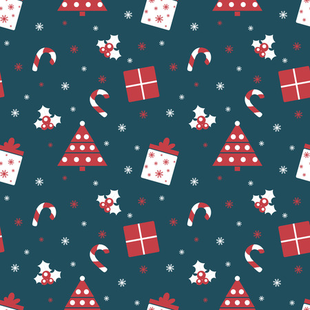 Merry Christmas and Happy New Year. Winter holiday background. Cute seamless pattern with red and blue colors. Vector illustration can be used for printing on paper and fabric.