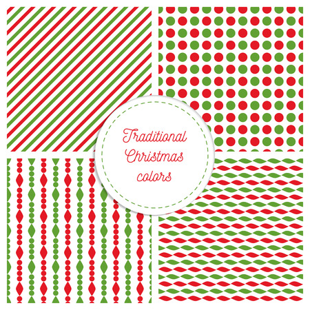 copied: Set of simple retro geometric Christmas patterns. Traditional colors. Background can be copied without any seams.Vector garland endless textures can be used for printing onto fabric and paper. Lines and circles.
