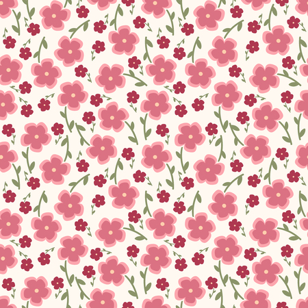 copied: Simple and beauty flower seamless pattern. Vector illustration good for textile and paper wrapping print. Can be copied without any seams. Abstract floral hand-drawn background. Spring and summer flowers in pink. Illustration
