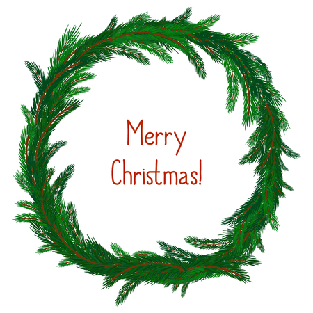 pine wreath: Simple Christmas wreath isolated on white. Evergreen branches. New Year symbol. Vector illustration. Winter picture can be used for postcard, invitation, web design, banner. Green spruce.