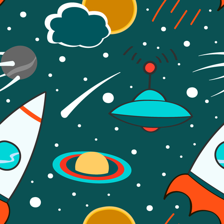meteorites: Seamless pattern with outer space, rocket, comet, planets, ufo and stars. Childish background. Hand drawn eps10 vector illustration. Illustration
