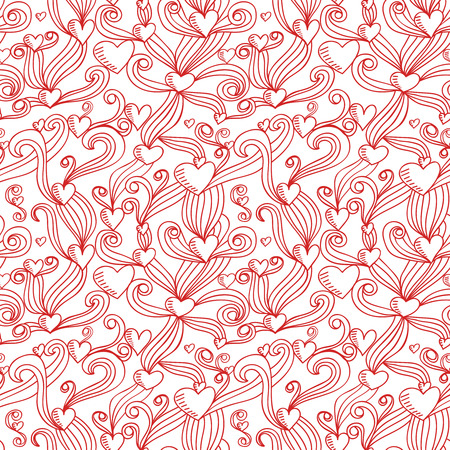 copied: Abstract sketch decorative ornamental seamless pattern. Doodle vector illustration. Cute handdrawn background with hearts can be copied without any seams.
