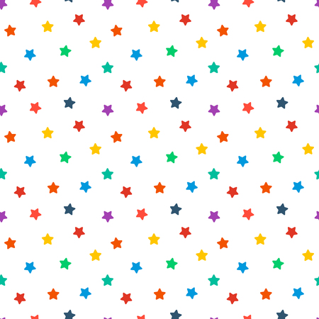 Vector seamless pattern for web design, prints etc. Modern stylish texture. Repeating background with varicolored stars can be copied without any seams. Children theme. Illusztráció