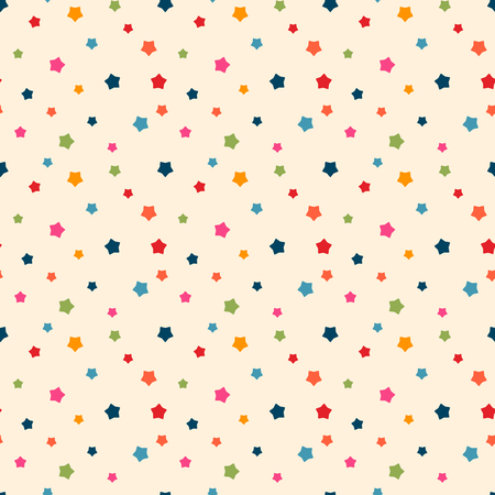Vector seamless pattern for web design, prints etc. Modern stylish texture. Repeating background with varicolored stars can be copied without any seams. Children theme. 矢量图像