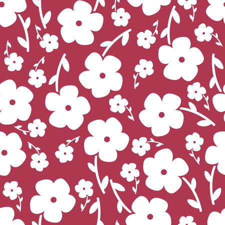 copied: Simple and beauty flower seamless pattern. Vector illustration good for textile and paper wrapping print. Can be copied without any seams. Abstract floral original background. Illustration