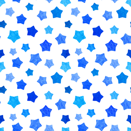 copied: Bright blue watercolor stars background can be copied without any seams. Hand drawing. Vector illustration. Painted shapes design elements set, collection. Seamless pattern for web, prints etc. Modern stylish texture.