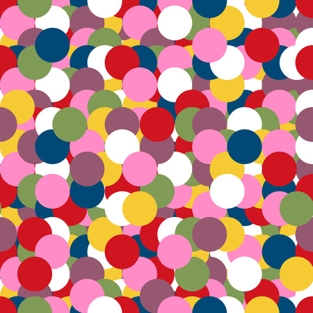 copied: Abstract geometric seamless pattern with circles in bright retro colors.  Vector illustration can be copied without any seams. Perfect for fabric prints. Illustration