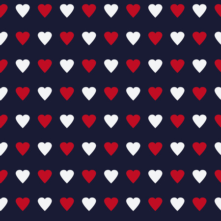 corazones azules: corazones multicolores simple y lindo sin patrón. Ilustración del vector en colores retro. Fondo con estilo del día de San Valentín puede ser copiado sin ninguna costura. Bueno para papel o de impresión textil. Vectores
