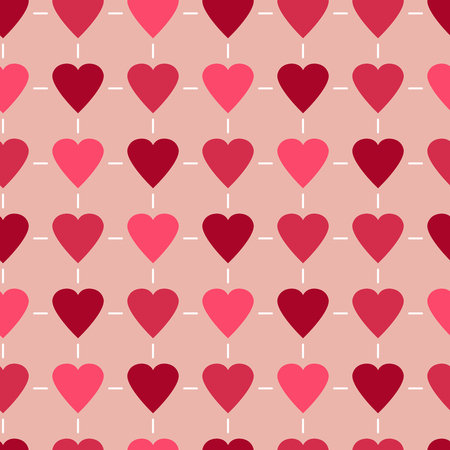 copied: Simple and cute varicolored hearts seamless pattern. Vector illustration in retro colors. Stylish Saint Valentine Day background can be copied without any seams. Good for paper or textile print.