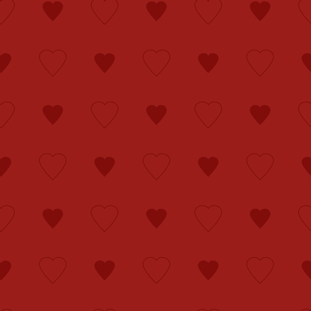 copied: Simple and cute red hearts seamless pattern. Vector illustration in retro colors. Stylish Saint Valentine Day background can be copied without any seams. Good for paper or textile print. Illustration