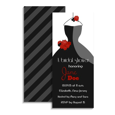 noir: Bridal shower invitation card. Vector illustration. Classic design with wedding dress and roses. Party accessory. Noir style.