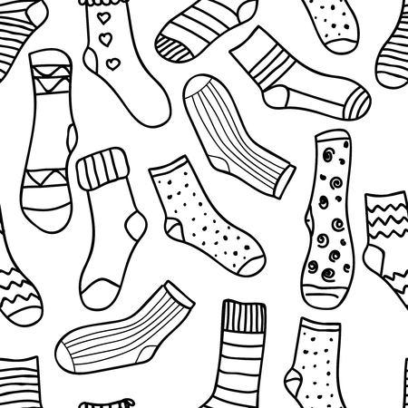 Vector nahtlose Muster von doodle Socken für Web-Design, Drucke usw. Hintergrund wiederholen kann ohne Nähte kopiert werden. Einladung, Postkarte, Banner. Vektor-Illustration Vektorgrafik