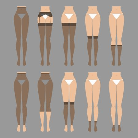 Vector illustration. Hosiery elements - tights, stockings, golfs, leg warmers, socks. Woman lingerie icons set. Cute silhouettes of female underwear.