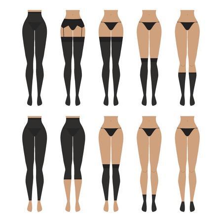 Vector illustration. Hosiery elements - tights, stockings, golfs, leg warmers, socks. Woman lingerie icons set. Cute silhouettes of female underwear. 向量圖像