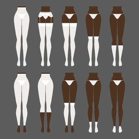 hosiery: Vector illustration. Hosiery elements - tights, stockings, golfs, leg warmers, socks. Woman lingerie icons set. Cute silhouettes of female underwear. Illustration