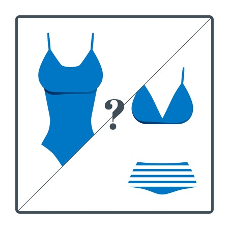 girl boobs: Swimsuit choosing icons set isolated on white background.  Vector illustration. Summer vacation theme. Symbol of holidays and travel.
