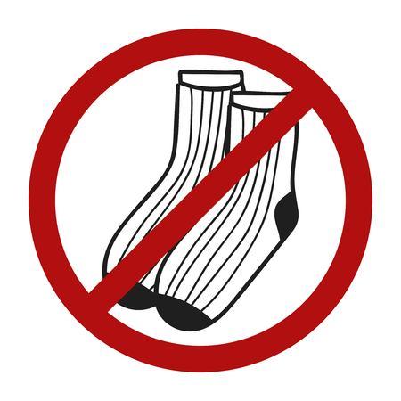socks: Stop sign. Vector doodle socks icon for web design. Handdrawn symbol of footwear. Vector llustration No socks allowed.