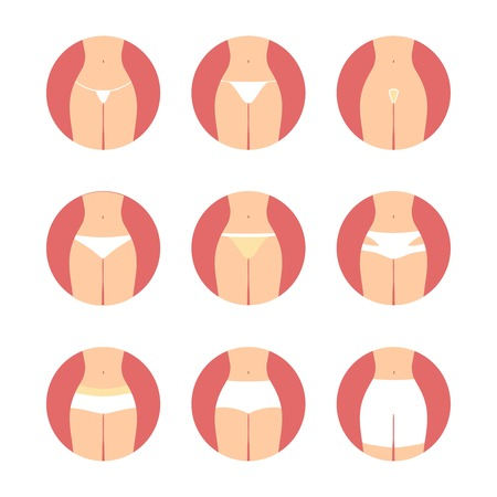 nude female: Various types of women panties. Underwear vector set. String, thong, tanga, bikini, cheeky, hipster, boyshorts, classic brief, slip, high waist, retro illustration. Hosiery elements. Girl lingerie icons set. Illustration