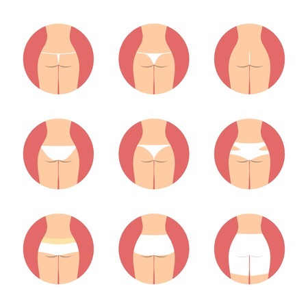nude girl: Various types of women panties, back view. Underwear vector set. String, thong, tanga, bikini, cheeky, hipster, boyshorts, classic brief, slip illustration. Hosiery elements. Girl lingerie  icons set. Illustration