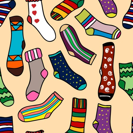 Vector seamless pattern of doodle socks for web design, prints etc. Repeating background can be copied without any seams. Invitation, postcard, banner. Vector illustration Illustration