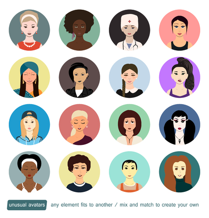 indian professional: Unusual avatars collection. Girls, women in different social roles. Every face element, accessory or clothes can be placed on another to create own avatar. Doctor, school, dark-skinned, subculture.