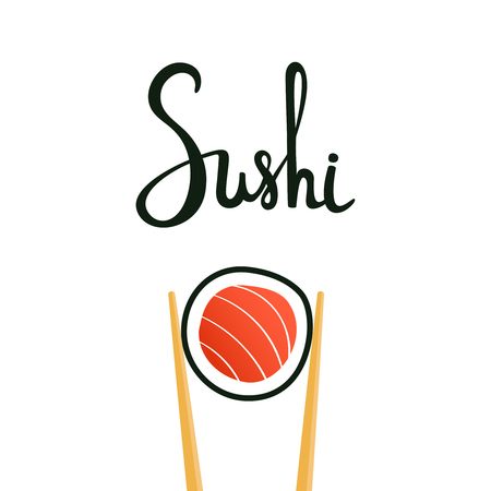susi: Sushi calligraphy, hand drawn lettering. Chopsticks holding roll with salmon isolated on white background. Emblem of japanese food, fish snack, susi, exotic restaurant, sea food. Vector illustration.