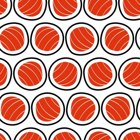 susi: Sushi seamless pattern, hand drawn. Emblem of japanese food, fish snack, susi, exotic restaurant, sea food delivery. Vector illustration.