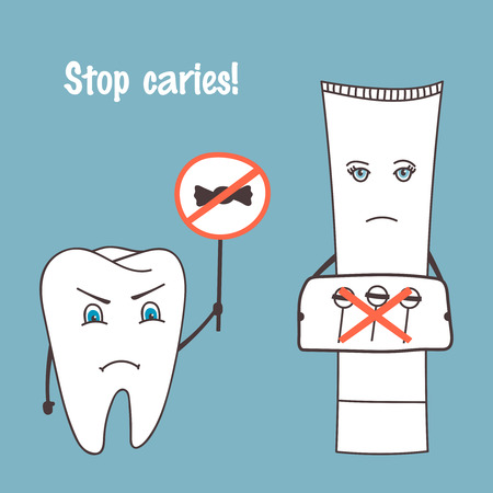 oral health: Angry tooth and toothpaste cartoon characters. Stop caries. Oral health, medical theme. Hand drawn vector illustration. Illustration