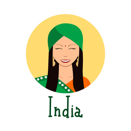 traditional clothing: Young woman face avatar. Cute indian girl in traditional clothing portrait for social networks. Vector illustration with handdrawn lettering. Ethnical theme