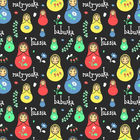 babushka: Russian traditional style toys, babushka, matryoshka, simple USSR elements. Vector illustration. National culture concept. Seamless colorful retro doll design background.