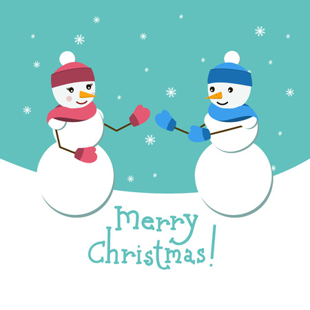 santa helper: Snowman and his girlfriend vector card with Merry Christmas lettering. Happy couple on winter background with snowflakes. Vector design illustration. Santa helper. New Year theme.