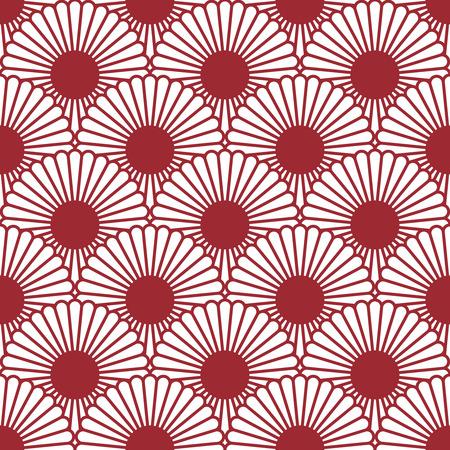 Simple chrysanthème de style japonais seamless pattern. Traditional flower.Background peut être copié sans seams.Vector texture sans fin peut être utilisé pour l'impression sur tissu et papier. Vecteurs