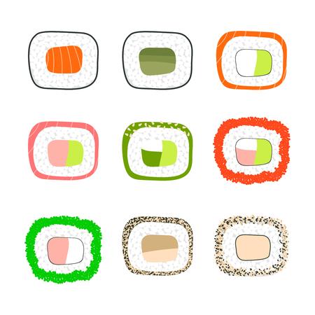 Simple sushi icons set. Vector illustration. japanese food symbols for menu design, web and other. Salmon, cucumber, avocado, roe, caviar, eel Illustration