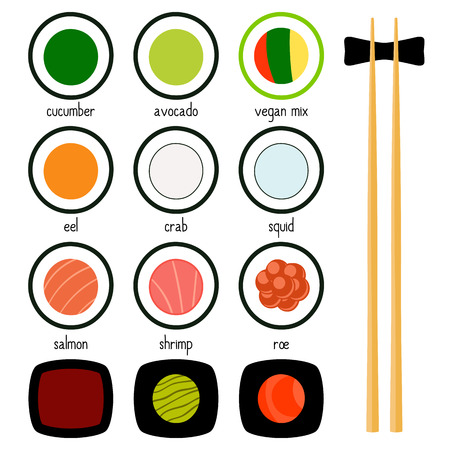 traditionally: Simple sushi, wasabi, chopsticks icons set. Vector illustration. japanese food symbols for menu design, web and other. Salmon, cucumber, avocado, roe caviar eel Illustration