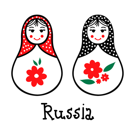 babushka: Russian traditional wooden toys, babushka, matryoshka, simple USSR elements. Vector illustration. National culture concept. Retro doll design background.