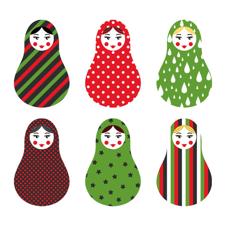 babushka: Set of russian traditional wooden toys, babushka, matryoshka, simple USSR elements. Vector illustration. Geometric ornaments are under clipping masks. Retro nested doll design background. Kids theme.