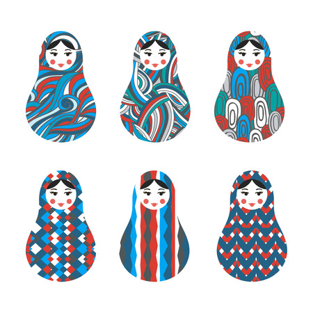 nested: Set of russian traditional wooden toys, babushka, matryoshka, simple USSR elements. Vector illustration. Geometric ornaments are under clipping masks. Retro nested doll design background. Kids theme.