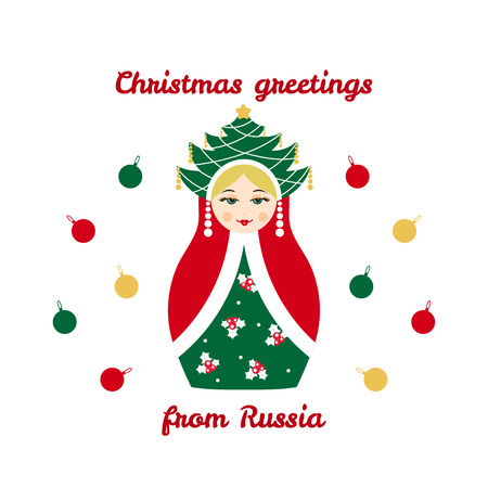 babushka: Christmas greetings from Russia, card with russian traditional wooden toy, babushka, matryoshka. New Year theme vector illustration. Retro nested doll design background. Winter holidays. Illustration