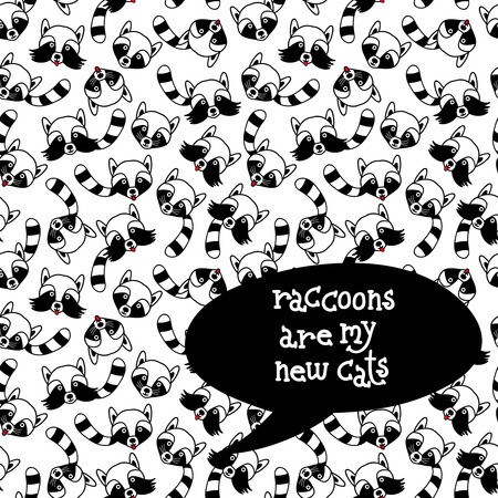raccoons: Raccoons seamless pattern. Hand drawn vector illustration with forest animals. Cute and funny background with lettering, good for paper print, t-shirt, card, poster, phone case etc.