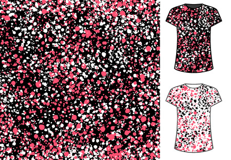 Abstract spots seamless pattern, good for textile and paper print, card, poster, another design. Paint blots vector illustration. Simple messy ornament presented on t-shirt template