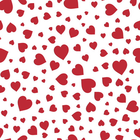 Red hearts seamless pattern. Good for textile and paper print, card, poster, another design. Cute Saint Valentine Day vector illustration. Love theme.