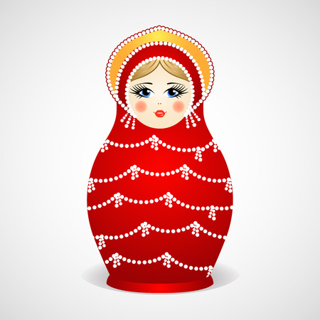 babushka: Russian traditional wooden toys, babushka, matryoshka, simple beauty design element. Vector illustration. National culture concept. Retro doll background. Illustration
